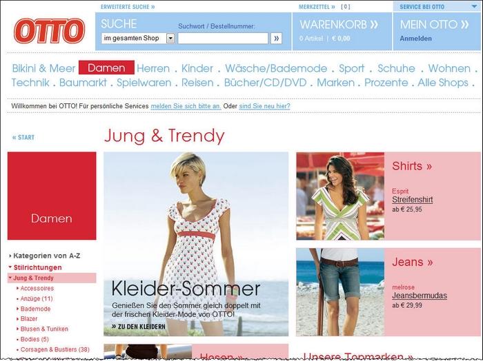 otto.de - Einstiegsseite Jung & Trendy