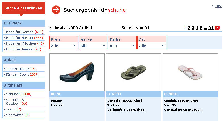 Filterfunktionen in Online-Shops