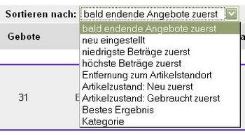Produktsortierung bei eBay
