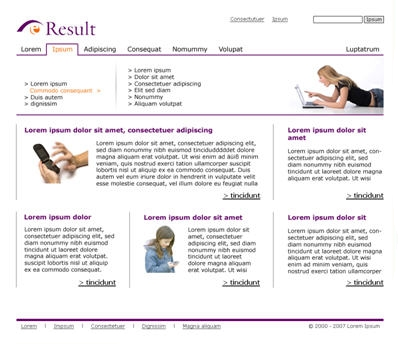 Screen einer Corporate-Website