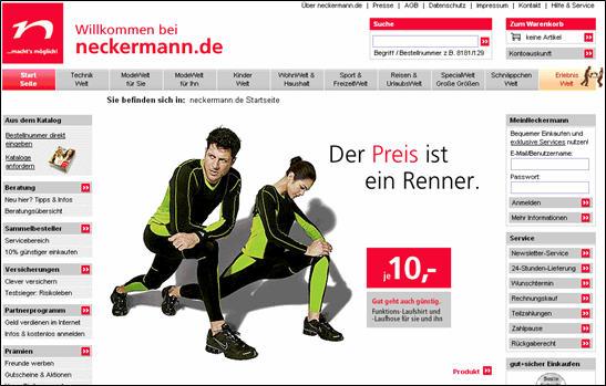 Startseitengestaltung Neckermann (Ende 2006)