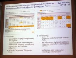 """""""Empfehlung vs. Umsetzung"""" aus dem Vortrag zum Thema Eyetracking."""
