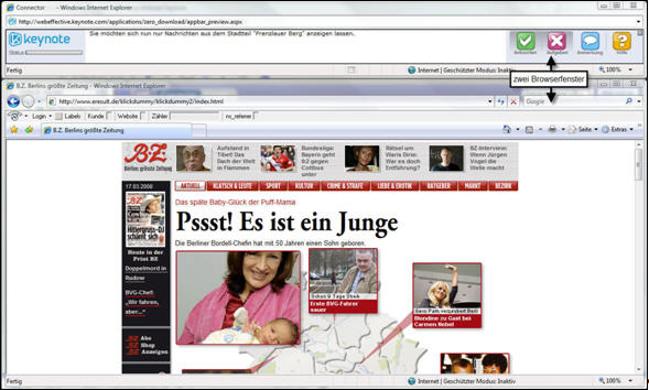 Ansicht Testperson, zwei Browserfenster