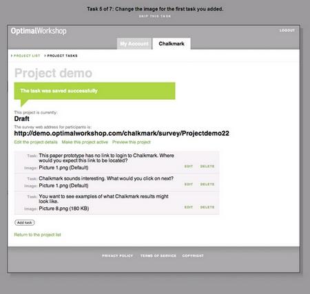 chalkmark: Screenshot einer Beispielfrage bzw. –aufgabe
