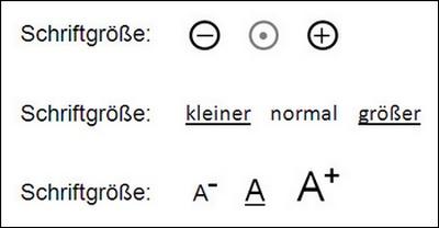 Varianten zur Textvergrößerung