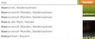 Vorschlagsfunktion der Suche auf monster.de