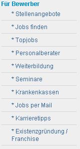 Navigation bei stellenmarkt.de