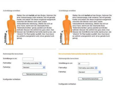 Abbildung 3: Ansicht vor und nach der Berechnung der eigenen Rahmengröße