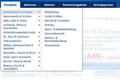Sortiment Damenmode & Schuhe mit den zugeordneten Warengruppen, Produktkategorien und mehr... www.quelle.de (Stand Juli 2009)