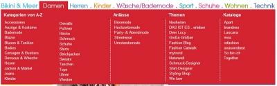 Sortiment Damen und die im Layer angezeigten Unterkategorien www.otto.de (Stand Juli 2009)