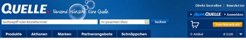 Abbildung: Oberer Seitenbereich des Quelle.de Online-Shops (Stand: Juni 2009)