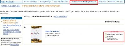 Empfehlungen verbessern unter www.amazon.de