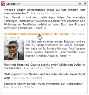Schlagzeilenbox von Spiegel Online