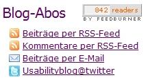 Möglichkeiten zum Mitlesen (RSS-Feed, E-Mail-Abo oder Twitter)