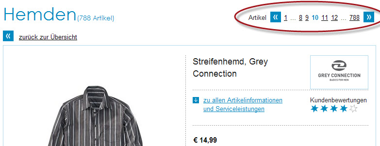 Blätterfunktion auf Otto.de