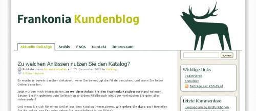 Frankonia Blog – ein offener Kundenblog zusammen mit eResult konzipiert und umgesetzt