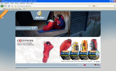 Startseite Deuter mit Feedback Möglichkeit oben links