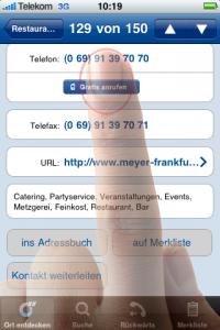 """Bad Practice – Der """"Gratis anrufen""""-Button bei der iPhone-App von Das Örtliche ist zwar gut sichtbar, lässt sich aber nicht problemlos mit dem Finger antippen."""