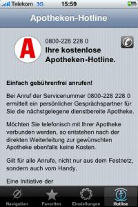 Bad Practice – Der Anrufen-Button (rechts oben) bei der iPhone-App von apotheken.de ist viel zu undeutlich als solcher gestaltet (Farbe, Größe, Position) und darüber hinaus noch schwer mit dem Finger zu treffen.