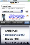 Amazon: Trefferliste mit 1. Kategorienauswahl