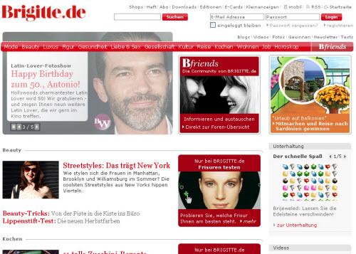 Ausschnitt der Homepage Brigitte.de