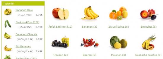 Topseller und Einstieg der Rubrik 'Obst & Gemüse'