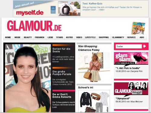 Ausschnitt der Homepage Glamour.de