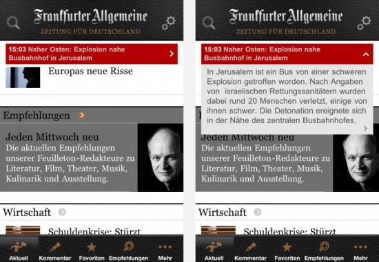 FAZ-App: links – Eilmeldung eingeklappt / rechts – Eilmeldung ausgeklappt
