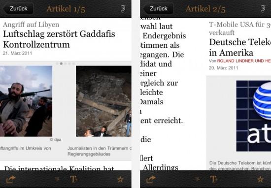 FAZ-App: links - Bilder scrollen / rechts - Artikel scrollen