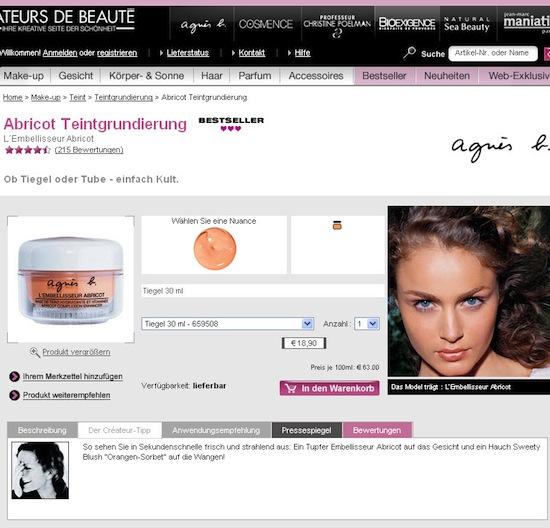 Nicht nur Abbildung der Verpackung: Wirkung des Produktes am Foto erkennbar auf ccbparis.de
