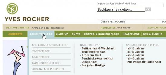 Alternative Einsteige nach Hauttyp und Alter bei yves-rocher.de