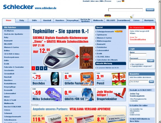 Schlecker-Startseite
