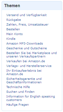 Amazon - Hilfethemen (linke Navigation)