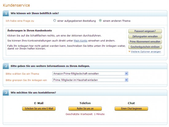 Amazon - Kontaktmöglichkeiten