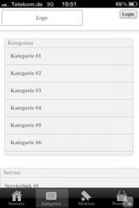 Kategorien-Screen der Mini-App