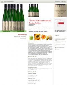 Detailseite: Beschreibung von Charakter, passenden Gerichten, Prämierungen und Weintechnik-Daten (genussreich.de)