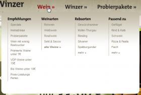 Navigationslayer Wein mit Einstiegen in verschiedene Unterrubriken (wirwinzer.de)