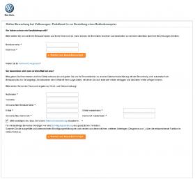 Anmeldebereich Bewerberportal Volkswagen