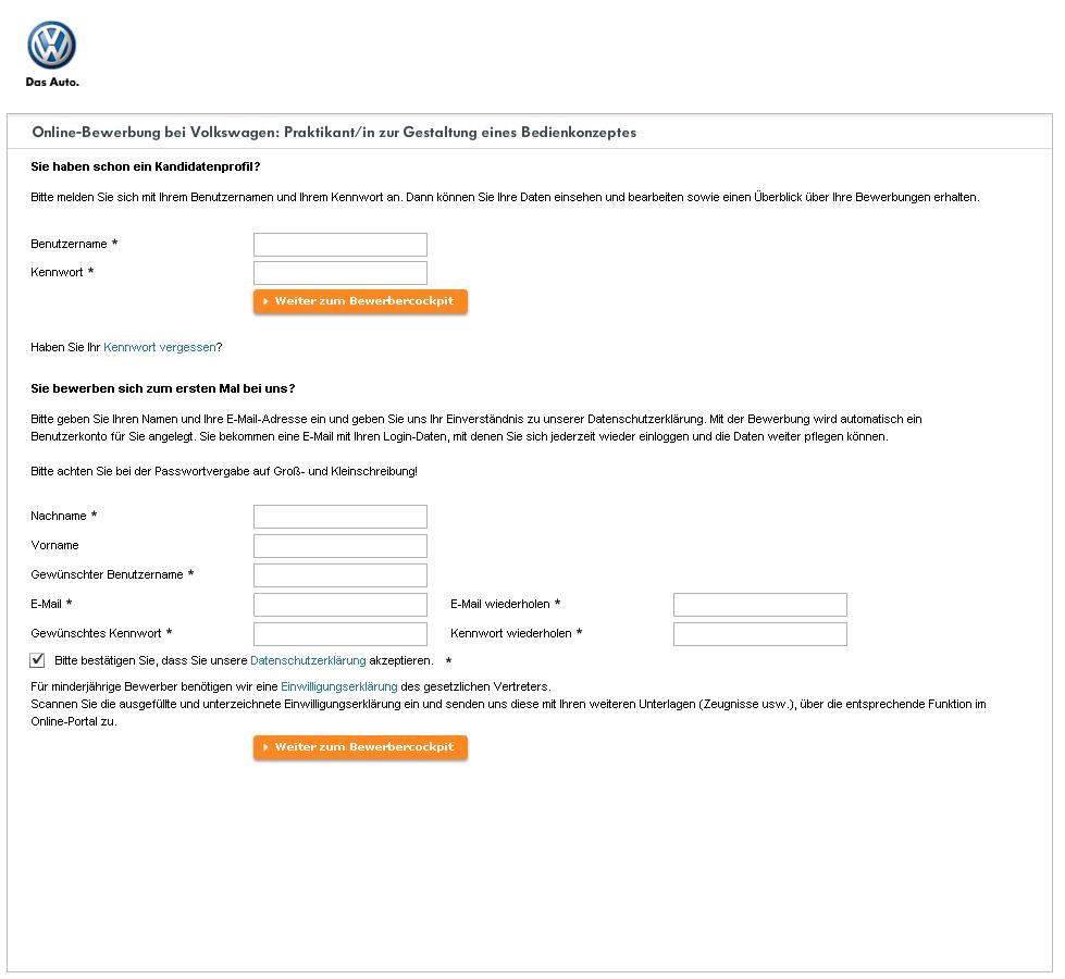 anmelden daten eingeben bewerbung abschicken good practices online bewerbung volkswagen karriere - Vw Bewerbung