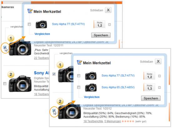 testberichte.de Vergleichs-/Merkfunktion