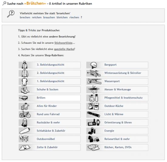 globetrotter.de - Vorschläge, Stichwortliste, Marke, Rubrikenliste
