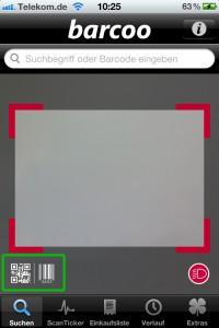 Barcoo App: Scan- & Suchfunktion (scannbare Barcode-Arten grün gerahmt)