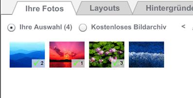 Photobox Überblick über verwendete Bilder