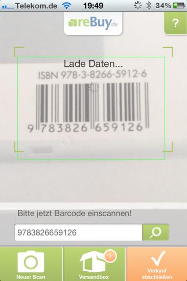 Abb.9: Barcode scannen mit der App