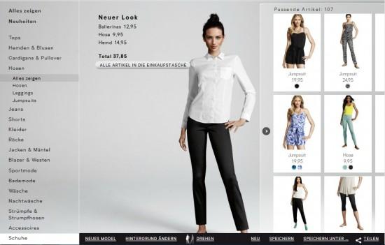 Dressing Room des Onlineshops von H&M