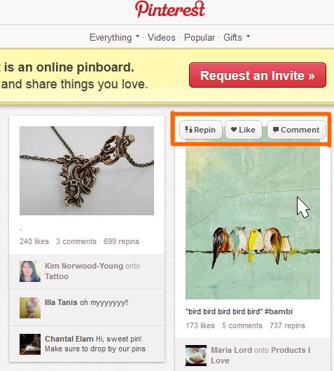 Pinterest mouseover Funktionen