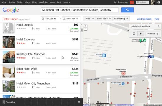 Der Google Hotel Finder hebt bei Mouseover in der Liste das Hotel in der Karte hervor