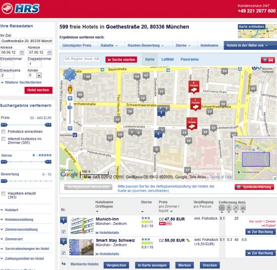 HRS.de stellt die Karte über der Ergebnisliste dar und ermöglicht die Hervorhebung einzelner Hotels