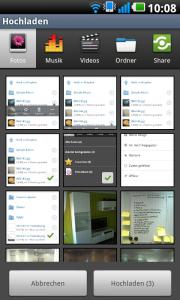 Upload-Funktion der Anwendungen der Telekom