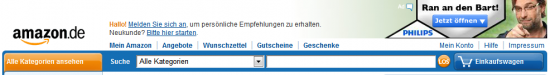 Header bei amazon.de